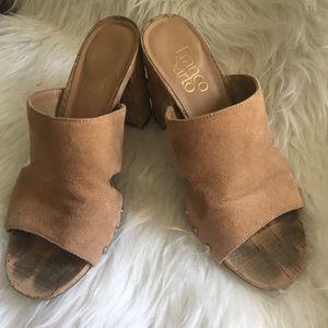 Tan mules with cork heels Franco Sarto